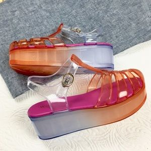 Wanted Shoes - NIB  sz 7 & 8 avail Ombre Clear Jelly Platforms.