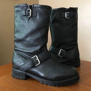 H&M Premium Collection black leather moto boots