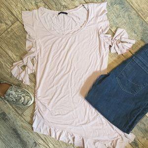 Sisley Tops - Sisley Blush Asymmetrical Top w/Ruffles, Ruching