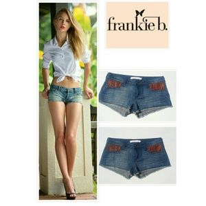 Frankie B. Pants - FRANKIE B JEAN & LEATHER SHORTS SZ 26