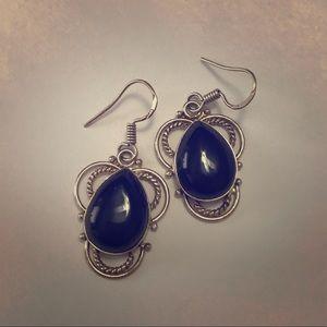 Jewelry - 💚SALE💚•Black Onyx Silver Teardrop Earrings•