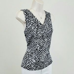 212 Collection Tops - Sleeveless black & white cheetah print top