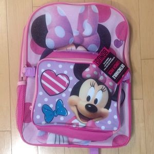 Disney Handbags - Minnie Mouse Backpack with lunch Mini hand bag