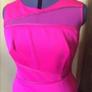 Monif C Body Con dress w/mesh inserts