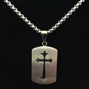 Stainless Steel Dog Tag Cross Necklace