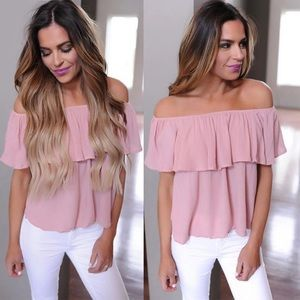  Off the shoulder ruffle pink chiffon blouse top