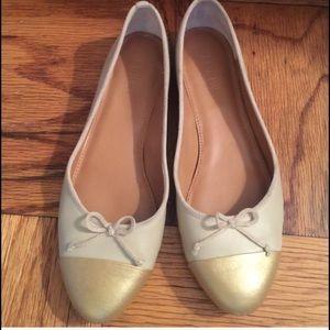 J. Crew cap toe ballet flats beige and gold