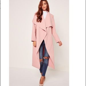 Missguided + Jackets & Blazers - Plus Size Oversized Pink Waterfall Duster Coat