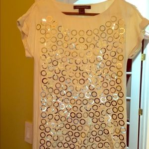 French Connection Beige Sequin Dress