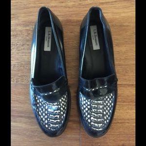 LK Bennett Shoes - L.K. Bennett Blk Snakeskin Patent Leather Loafers