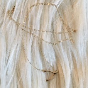 10k gold wish bone necklace