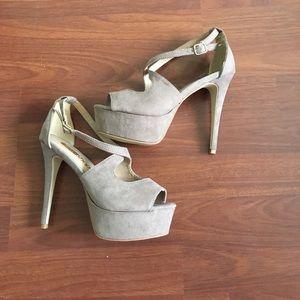 ShuShop Shoes - ShuShop Platform cross strap taupe heels