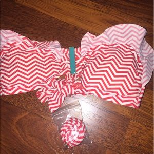 Red white chevron bikini top bandeau