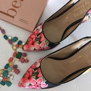 Ann Marino Shoes - Floral pointy toe sling back shoe heels pink 6.5