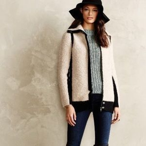 Anthropologie Colorblock Boucle Sweater Jacket