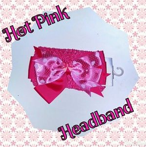Other - NWT- Hot Pink Headband with Pink Bow