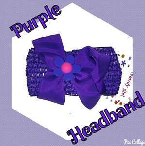 Other - NWT- Purple Crochet Headband with Purple Bow