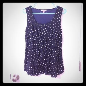 Dress Barn blue and white polka dot ruffle tank