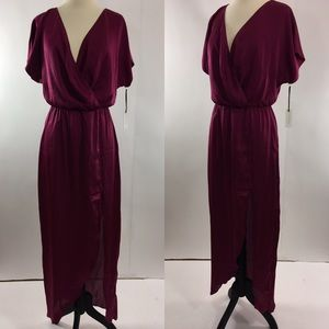 Lovers + Friends Dresses & Skirts - Friends and Lovers Pink Satin V Neck Wrap Maxi