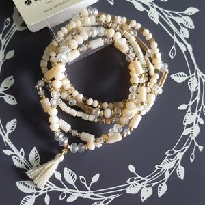 Beaded Tassel Stretch Bracelet Set Cream Gold NWT