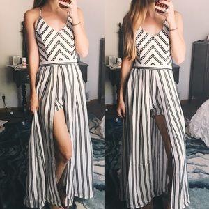 Pants - Striped Romper Jumpsuit