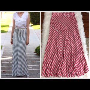 Dresses & Skirts - Maxi Skirt Striped Pink Grey Large