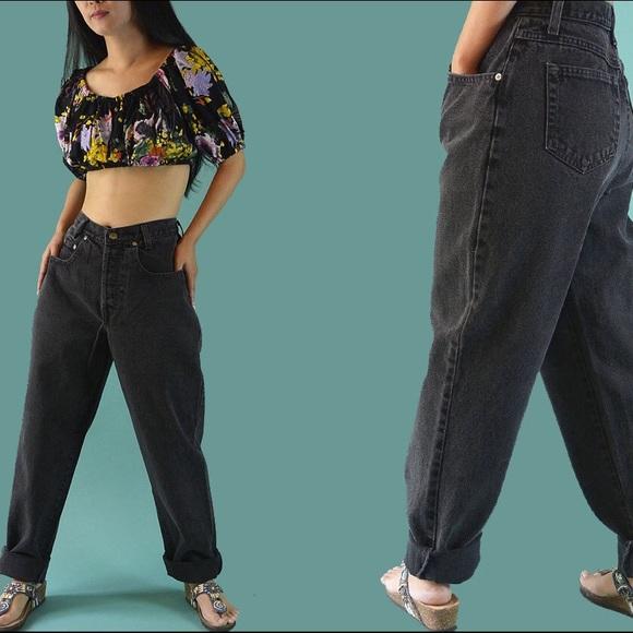 b435cc7c73e Vintage High Waisted Faded Black Denim Jeans
