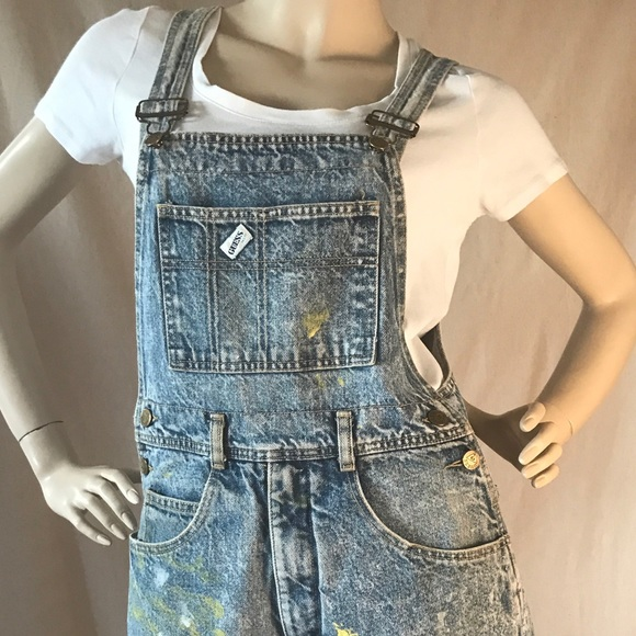 ea5f1a84f1 Guess by Marciano Pants - Vintage Guess Stone Washed Overall Shorts