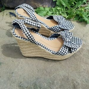 MIA Shoes - Plaid spring espadrille wedges