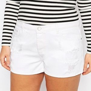 Alice & You Pants - Alice & You Distressed White Denim Shorts
