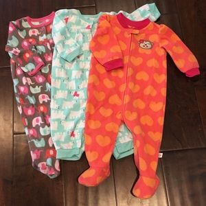 Carter's Other - Bundle of 3 Baby Girl Flannel Pajamas - 9 mo