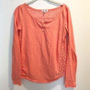 Salmon/orange Henley shirt with sheer lace back
