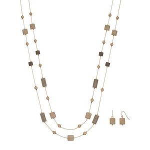 Jewelry - DoubleStrand Rectangle/Square Necklace Earring Set