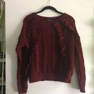 Topshop Maroon Ruffle Sweater