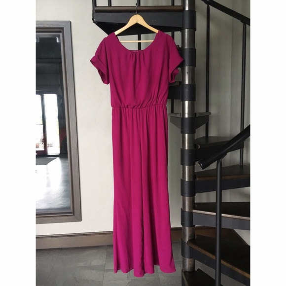 Gibson Latimer Pants - Fuschia dark pink flowy short sleeve jumpsuit