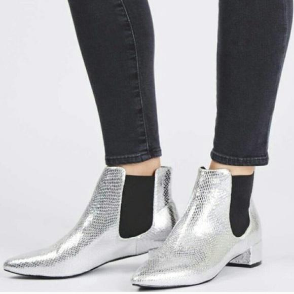 [TopShop] Silver Faux Snake Skin Metallic booties