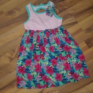 Girls Summer Dress Floral & Tucans