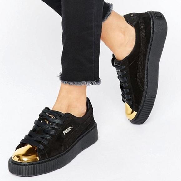 711829eef5 Puma Women's Suede Platform Gold Fashion Sneaker NWT
