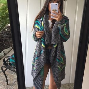 Knit tribal drape sweater