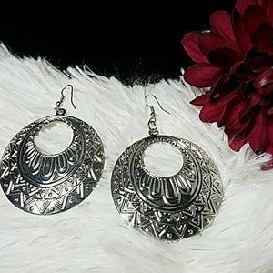 Jesi's Fashionz  Jewelry - Silver BOHO Disc Drop Earrings