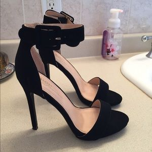 Shoes - Black Suede Basic Ankle Strap High Heels