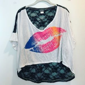 Dots Tops - White lips t-shirt with black lace mesh back