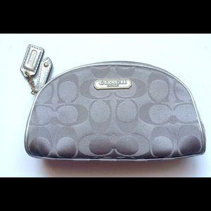 COACH Makeup Travel Bag Silver Grey Case Cute