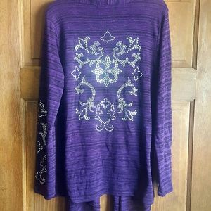Absolutely Famous Tops - Purple Open Front Cardigan, L.