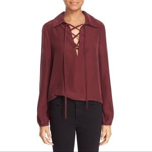 Frame Denim Tops - FRAME silk lace up top in maroon