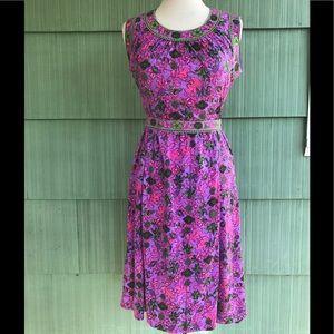 Vintage sleeveless 60's party dress purple & pink