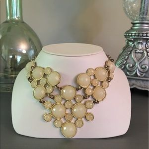  Cream Peach Gold Jeweled Statement Necklace