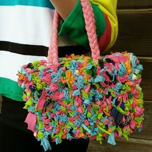 Unique Multi-Colored Rag Rug Handbag - Adorable!