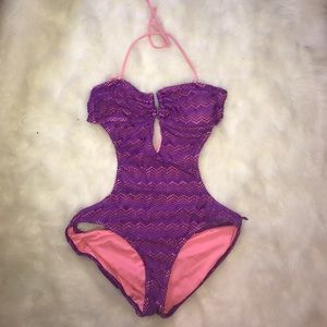OP Swim - Purple Monokini One Piece Swimsuit