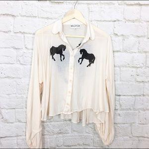 Wildfox Tops - Wildfox oversized horse long sleeve shirt